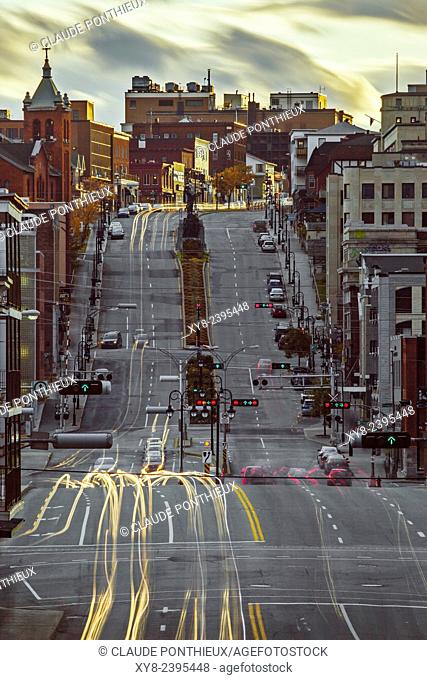 Cars light-trails, King street, Sherbrooke, Quebec, Canada