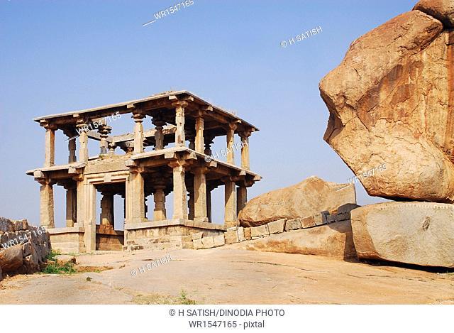 Ruins Hemakuta hill in Hampi at Karnataka India Asia