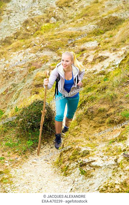 Woman hiking in mountain