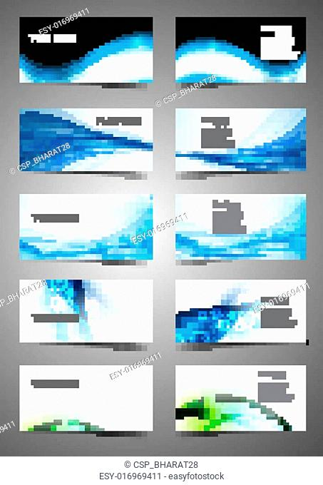 abstract Various Business Card set collection wave design vector