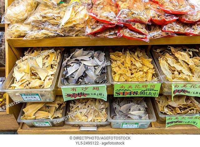 New York City, USA, Chinatown District, Detail Shelves Dried Goods in a Chinese Pharmacy, Medecines, Drug Store
