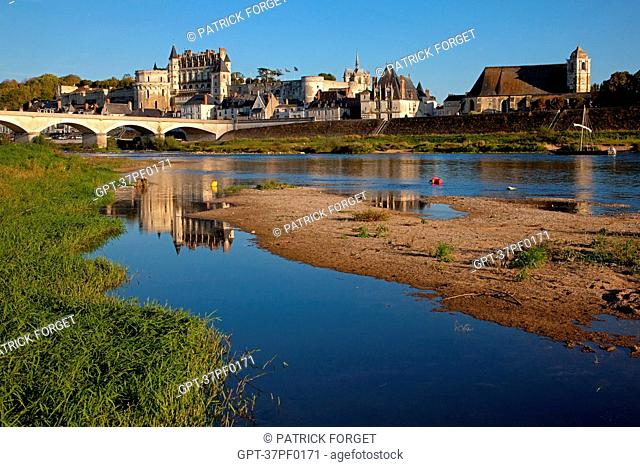 THE BANKS OF THE LOIRE SEEN FROM LA CROIX SAINT-JEAN ISLAND, VIEW OF THE SAINT FLORENTIN CHURCH, THE ROYAL CHATEAU AND THE TOWN OF AMBOISE, INDRE-ET-LOIRE 37