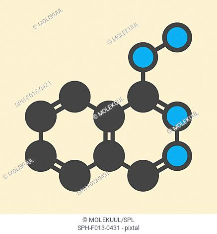 Hydralazine (apresoline) hypertension drug molecule. Stylized skeletal formula (chemical structure). Atoms are shown as color-coded circles: hydrogen (hidden)