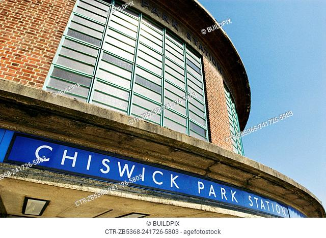 Art-deco influenced Chiswick Park underground station, West London, UK