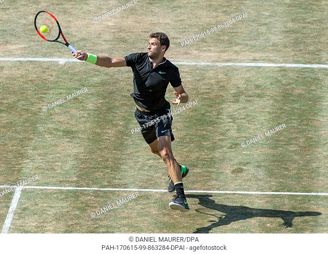 Grigor Dimitrov from Bulgaria in action during his round of sixteen match against Janowicz from Poland in Stuttgart, Germany, 15 June 2017