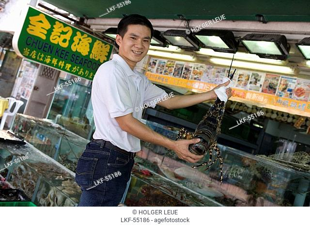 Man with Live Lobster, Chuen Kee Seafood Restaurant, Sai Kung, New Territories, Hong Kong