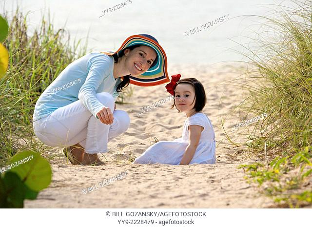 Mother and Daughter at Beach - Lauderdale-by-the-Sea, Florida USA