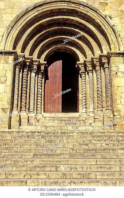 Main gateway. Romanesque church of Santiago, XII-XIII centuries. Coimbra, Portugal