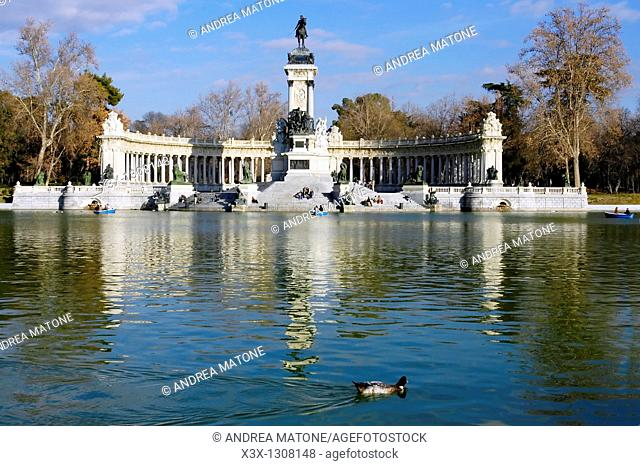 The lake in El Retiro park leading to the monument of Alfonso XII Spain Madrid