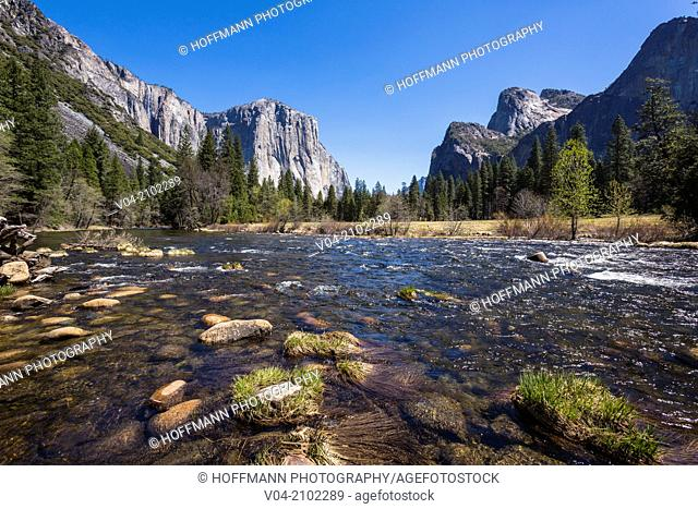 The famous El Capitan Mountain with Merced River in the foreground in the Yosemite National Park, California, USA