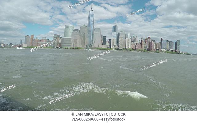Lower Manhattan and Hudson River view from a boat, New York City, USA