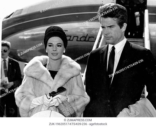 May 17, 1962 - Famous American actor WARREN BEATTY with fiance American actress NATALIE WOOD, arriving for the International Film Festival, in Cannes