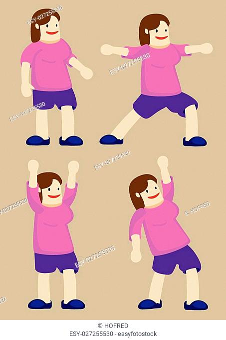 Vector illustration of a plus size woman doing stretches and exercise poses. Cartoon character isolated on plain background