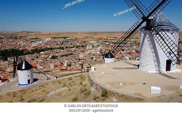 Windmills in the hills of the small town of Consuegra, Toledo province, Castilla la Mancha autonomous region, Spein, Europe