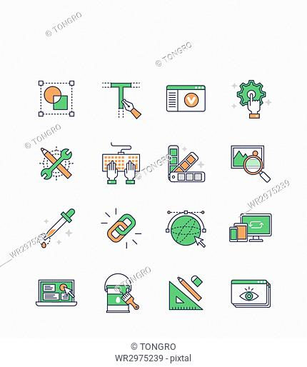 Icon set related to design