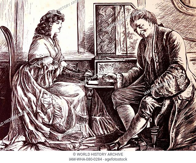 18th century music teacher with female student at a harpsichord. 19th century english illustration