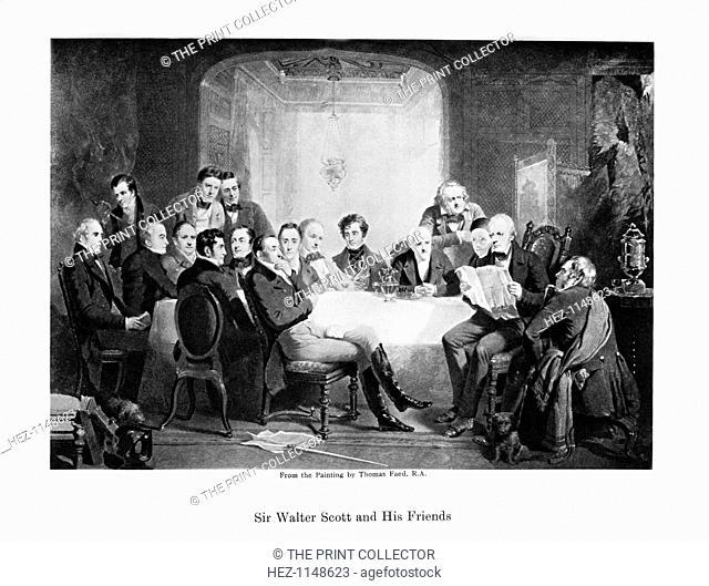 Sir Walter Scott and his friends, c1849. Scottish novelist Sir Walter Scott (1771-1832) and his literary friends at Abbotsford: seated; Thomas Thomson