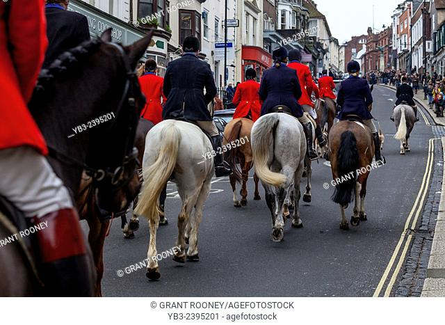The Southdown and Eridge Hunt At Their Annual Boxing Day Meet In Lewes, Sussex, England