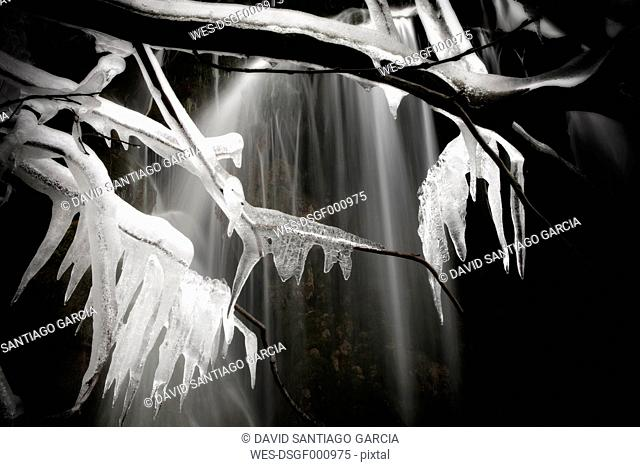 Spain, Cuenca, Waterfall at River Cuervo, frozen twigs, black and white