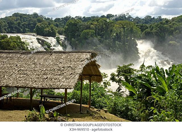 /hut on the edge of Para falls on Caura river,state of Bolivar,Bolivarian Republic of Venezuela,South America