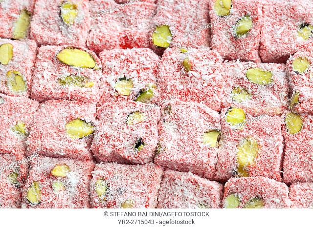 Famous turkish delights with strawberry on display at the grand bazaar, Istanbul, Turkey