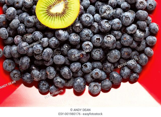 Macro Kiwi and Blueberries on Red Dish