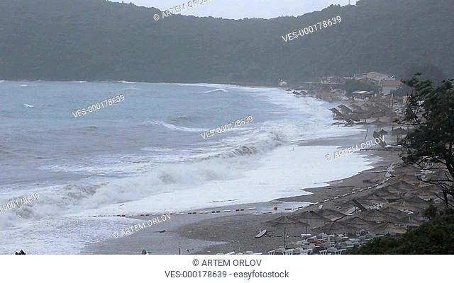 Montenegro Yaz beach storm summer sea day time mountains rocks Cloudy