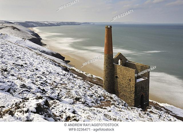 Towanroath Pump Engine House at Wheal Coates on the north coast of Cornwall, captured using a long shutter speed after a heavy snowfall in mid March