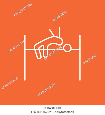 High jump line icon for web, mobile and infographics. Vector white icon isolated on red background
