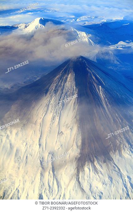 Russia, Kamchatka Peninsula, volcano, aerial view,