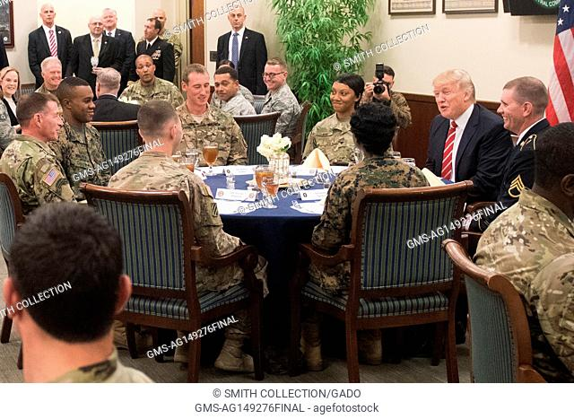 President Donald Trump has lunch with troops while visiting US Central Command and US Special Operations Command at MacDill, AFB, Florida, February 6, 2017