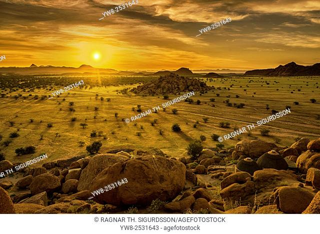 Sunset landscape by the Twyfelfontein Country Lodge, Namibia, Africa