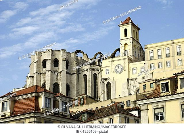 Ruins of the Igreja do Carmo Church, destroyed by an earthquake, Chiado district of Lisbon, Portugal, Europe