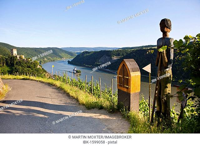Hiking trail in front of Burg Gutenfels Castle above Burg Pfalzgrafenstein Castle in Kaub am Rhein, Rhineland-Palatinate, Germany, Europe