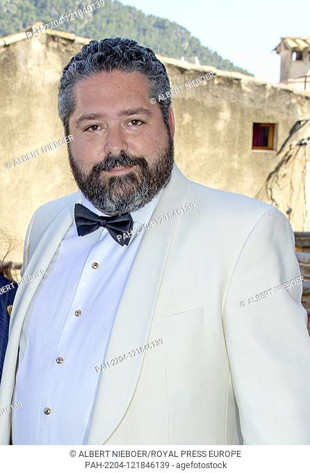 Grand Duke Georgi of Russia arrive at the Esglesias de Montes-Son in Pollensa, on June 29, 2019, the wedding of Joachim Albrecht Prince of Prussia