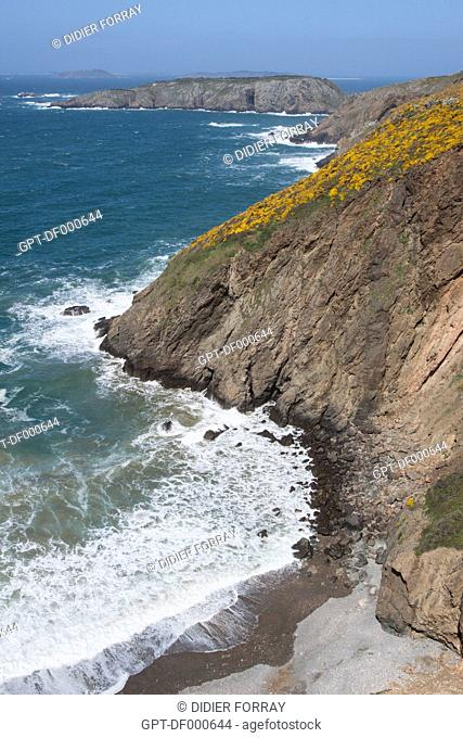 BIRD'S EYE VIEW OF THE SEA AND THE CLIFFS OF THE ISLAND OF SARK FROM THE COUPEE ISTHMUS, ISLAND OF SARK, CHANNEL ISLANDS