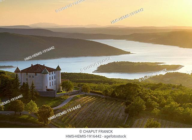 France, Var, Parc Naturel Regional du Verdon (Natural Regional Park of Verdon), Aiguines castle in front of Sainte Croix lake