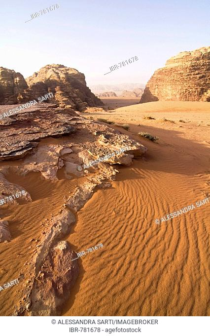 Rock formations and wind drifts in the desert, Wadi Rum, Jordan, Middle East