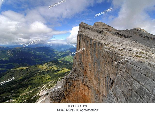Alta Badia, Dolomites, South Tyrol, Italy. The west wall of the Sasso di Santa Croce / Heiligkreuzkofel