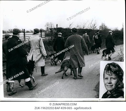 Feb. 02, 1962 - Police step up their search for missing 10 year old boy: Scores of police with dogs today began a new search for Billy Holloway