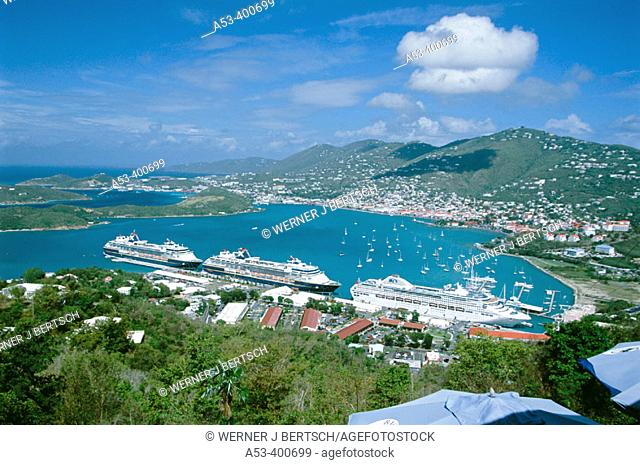 View from Paradise Point to Havensight and Charlotte Amalie, St. Thomas, US Virgin Islands. West Indies, Caribbean