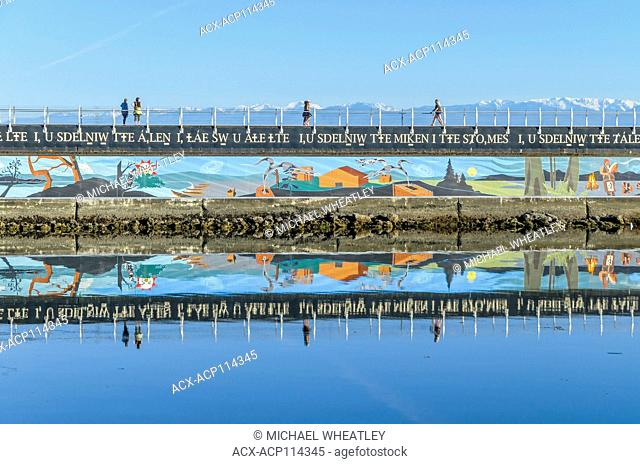 First Nations mural, Ogden Point Breakwater, , Victoria, Vancouver Island, British Columbia, Canada
