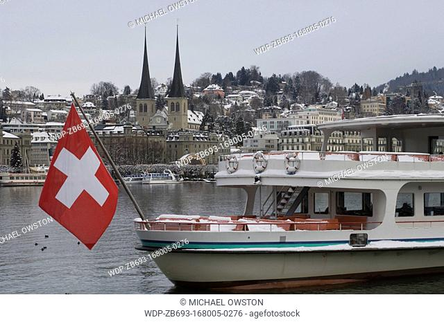 Swiss flag Harbour in winter Lucerne Switzerland