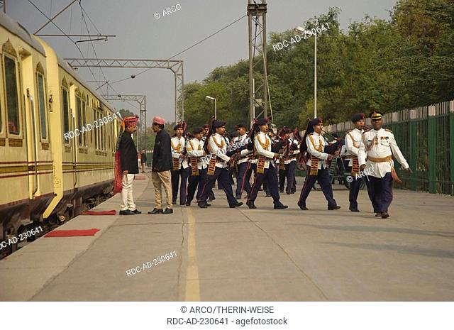 Musicians in front of Palace on Wheels, New Delhi, India, New Dehli