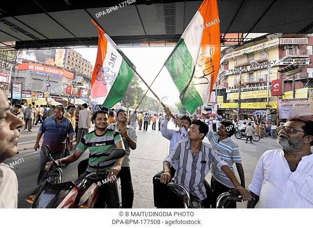 Kolkata election campaign by Trinamul Congress 2011 the election Flags people banners Kolkata India