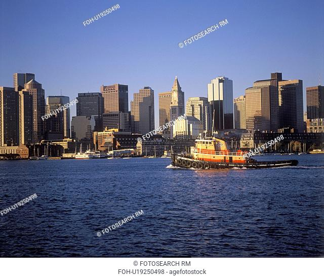 Boston Massachusetts skyline and waterfront view in the morning