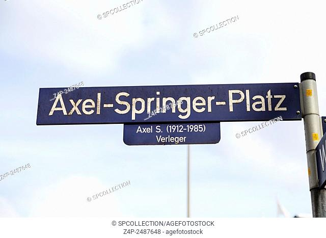 Axel-Springer-Platz sign in Hamburg