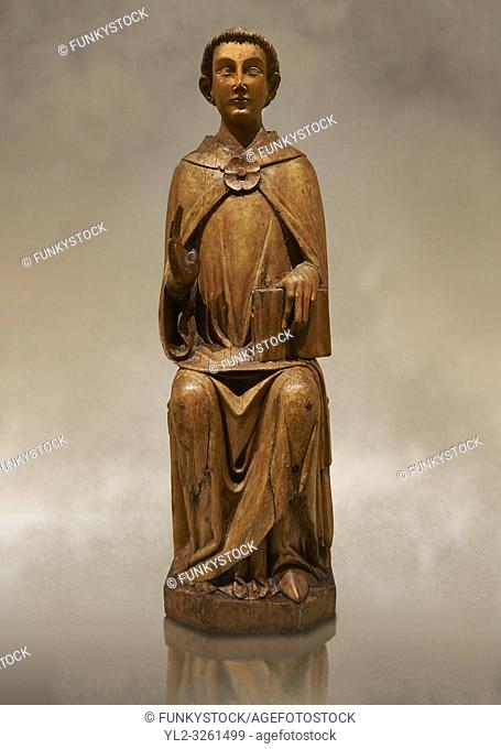 Gothic statue of Saint Peter by Joan Gasco. Tempera, oil, and stucco reliefs in gold leaf on wood. Date circa 1516. From the church of Santa Maria of...