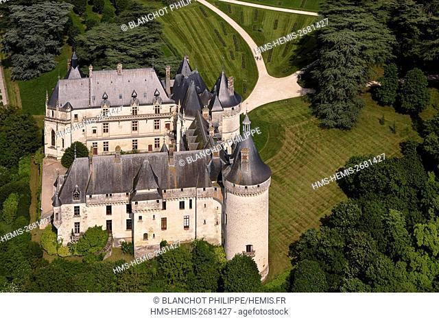 France, Loir et Cher, Loire Valley, listed as UNESCO World Heritage, Chaumont sur Loire Castle (aerial view)
