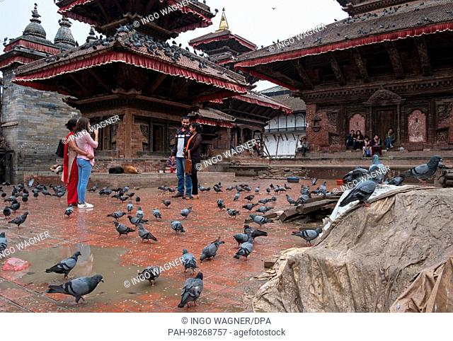 Durbar Square in the nepali capital Kathmandu. The temple facilities were partly damaged in the earthquake of 2015.   usage worldwide